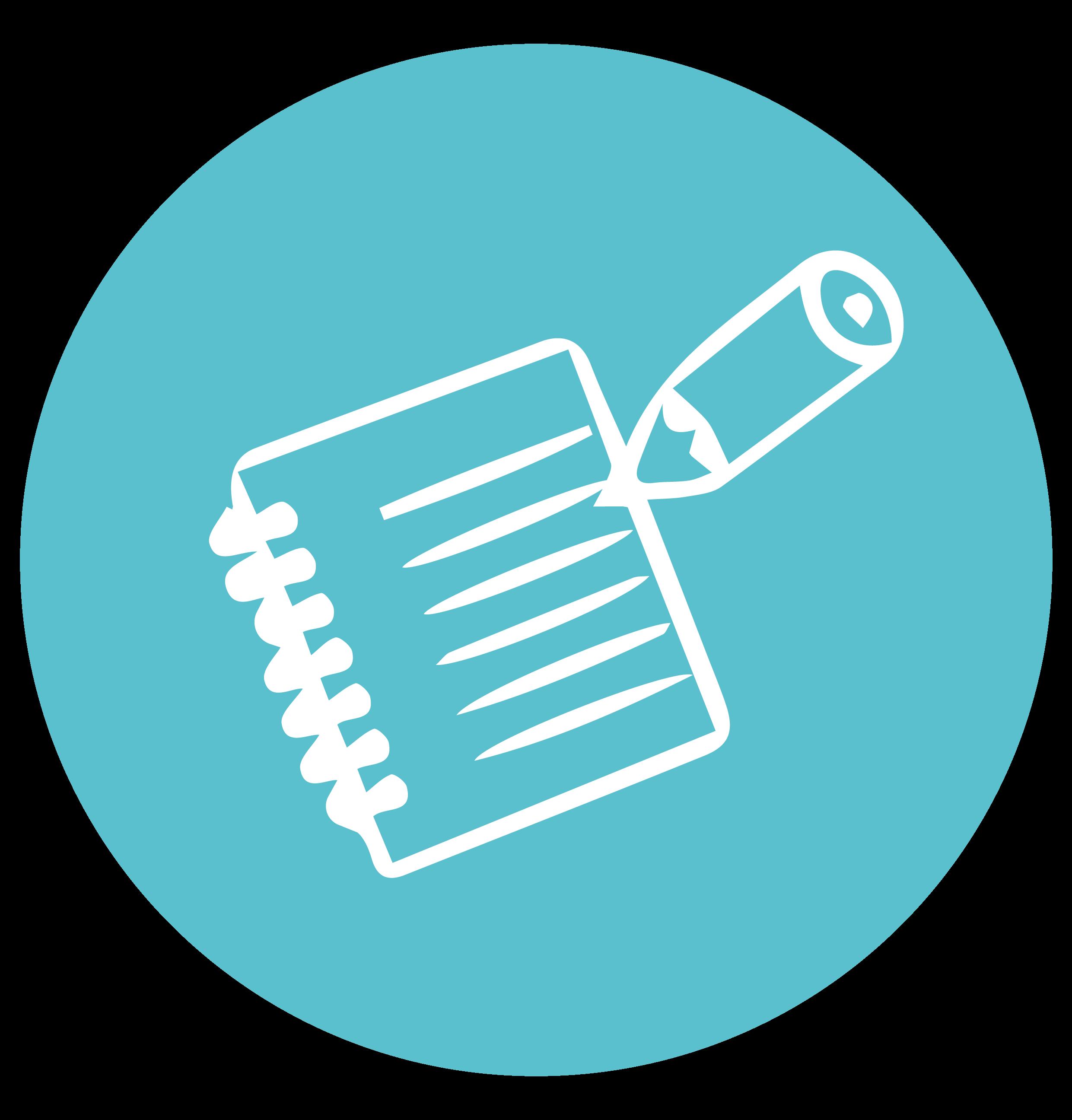 Illustration bleue en cercle d'un carnet et d'un stylo