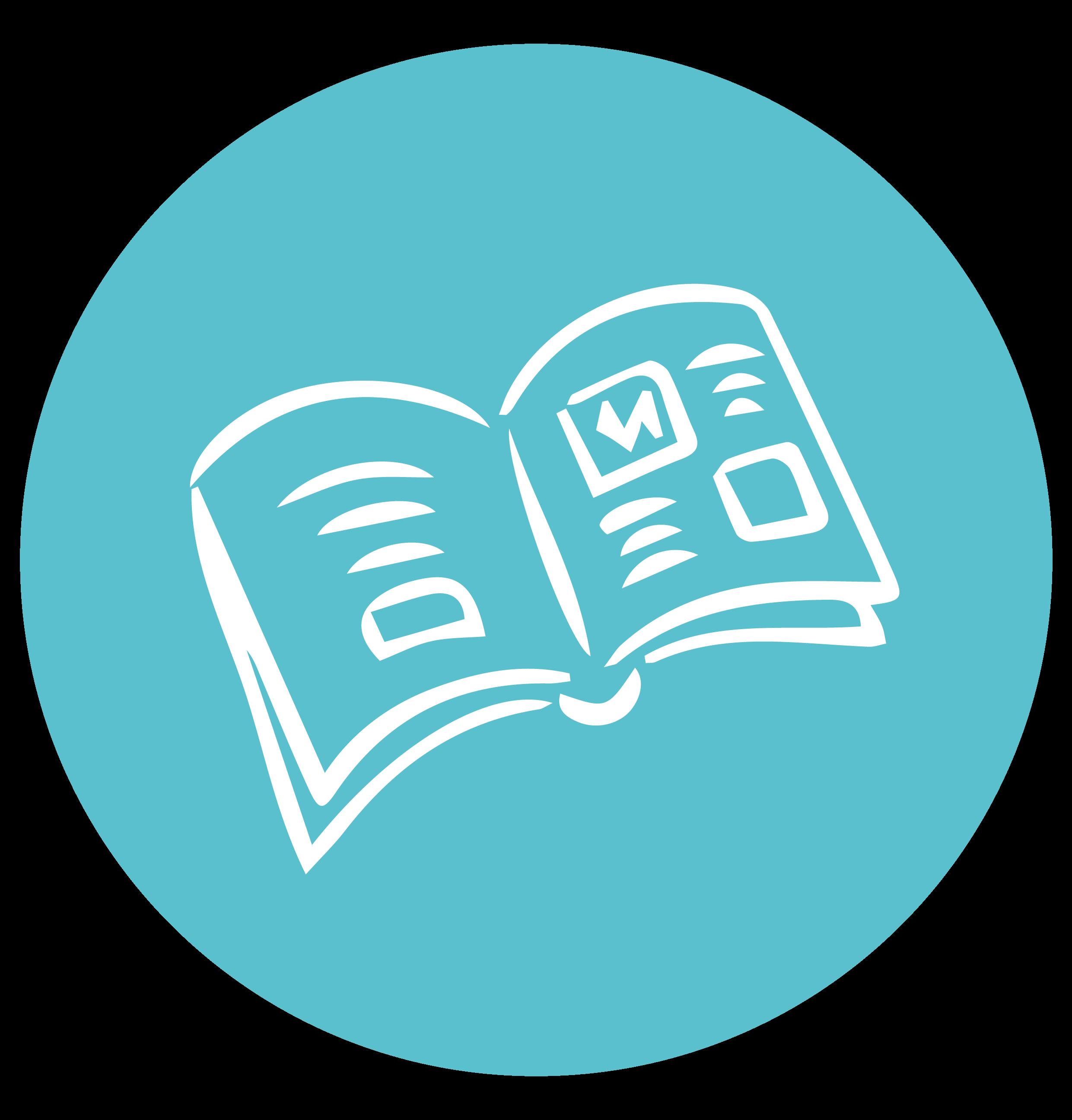 Illustration bleue en cercle d'un livre